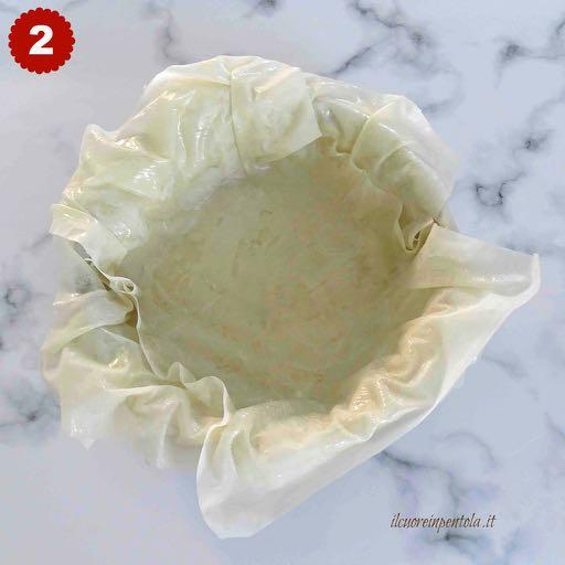 posizionare la pasta fillo nella teglia
