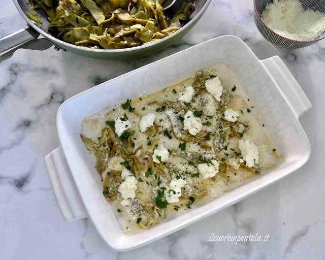 aggiungere ricotta e formaggio grattugiato
